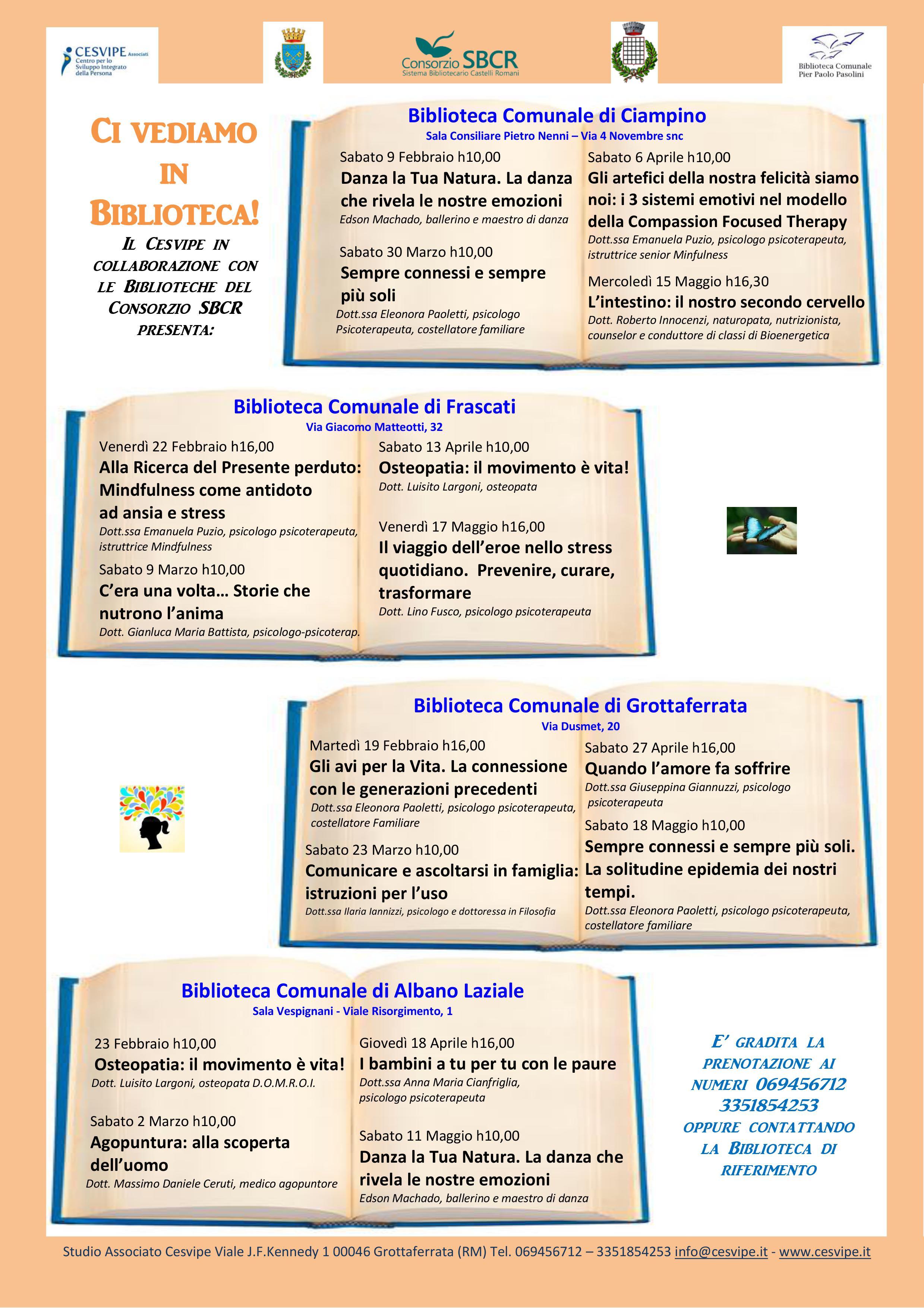 Locandina dell'evento: riporta il calendario degli incontri che si terranno in varie biblioteche del Consorzio SBCR.