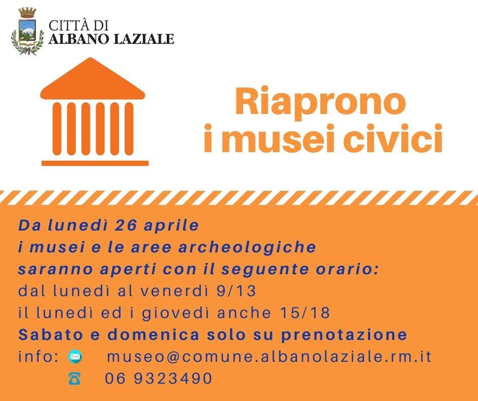 Da lunedì 26 aprile il Lazio torna in zona gialla e sarà possibile tornare a visitare i musei civici di Albano Laziale