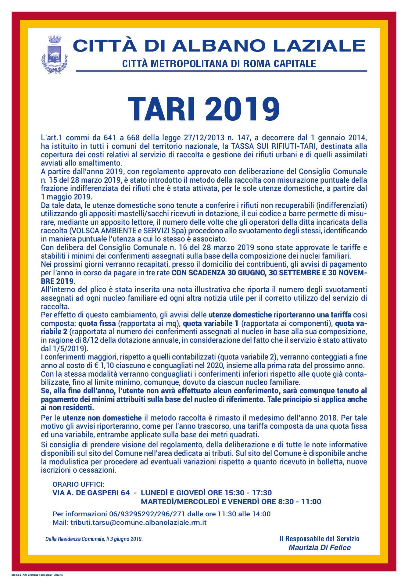 File di immagine: avviso versamenti TARI anno 2019