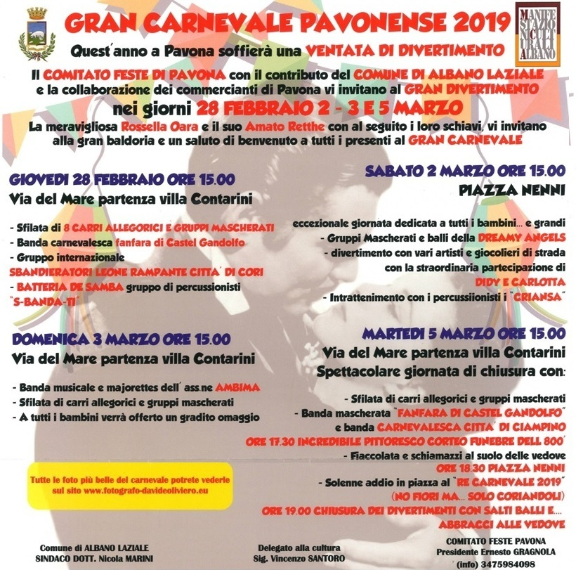 Locandina Carnevale a Pavona 2019