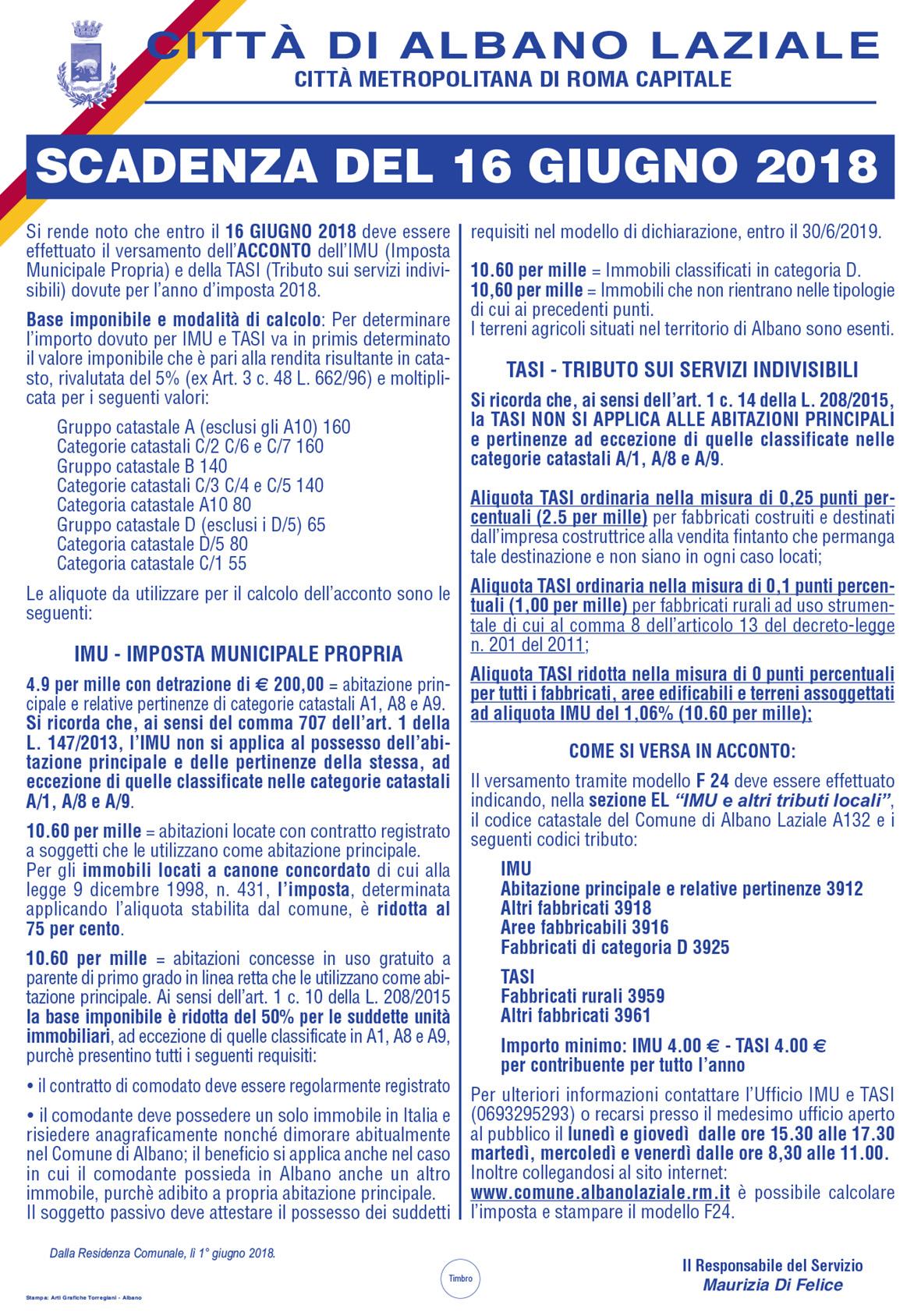 Manifesto IMU e Tasi