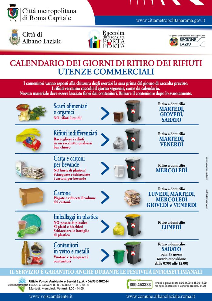Locandina Calendario Raccolta differenziata Utenze commerciali