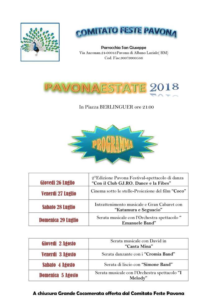 Locandina Pavona Estate 2018