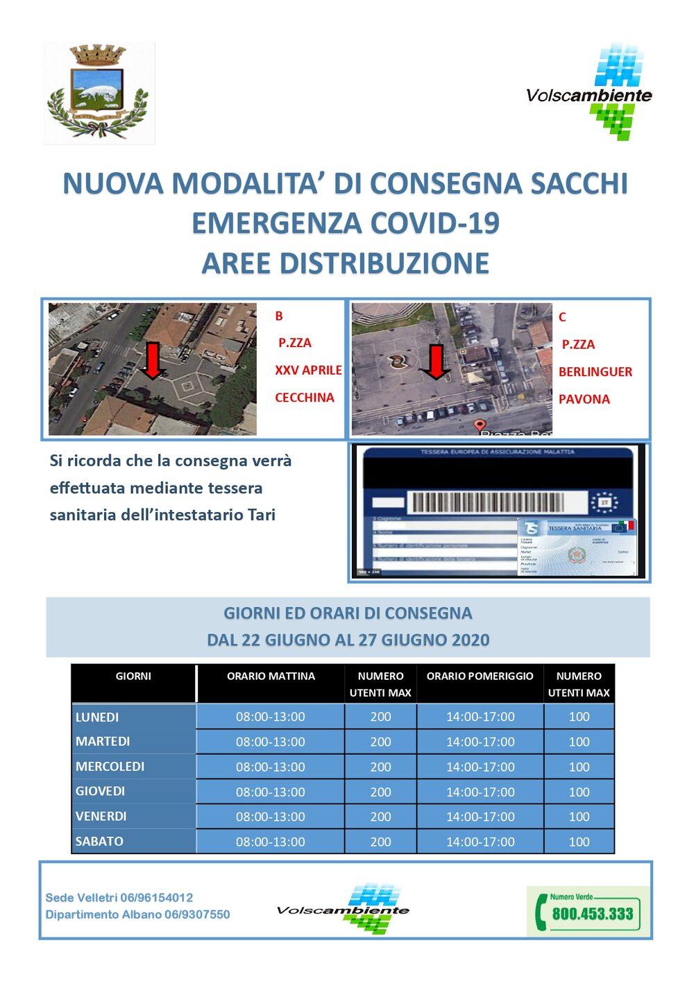 CECCHINA - B - XXV Aprile - dal 22 al 27 Giugno 2020 = PAVONA - C - Piazza Berlinguer - dal 22 al 27 Giugno 2020