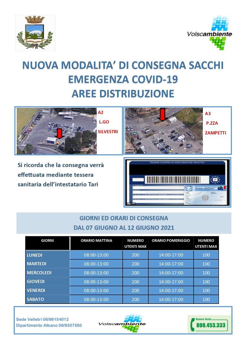 ALBANO PERIFERIA - A 2 - Largo Silvestri - dal 7 al 12 Giugno 2021 = A 3 - Piazza Zampetti - dal 7 al 12 Giugno 2021