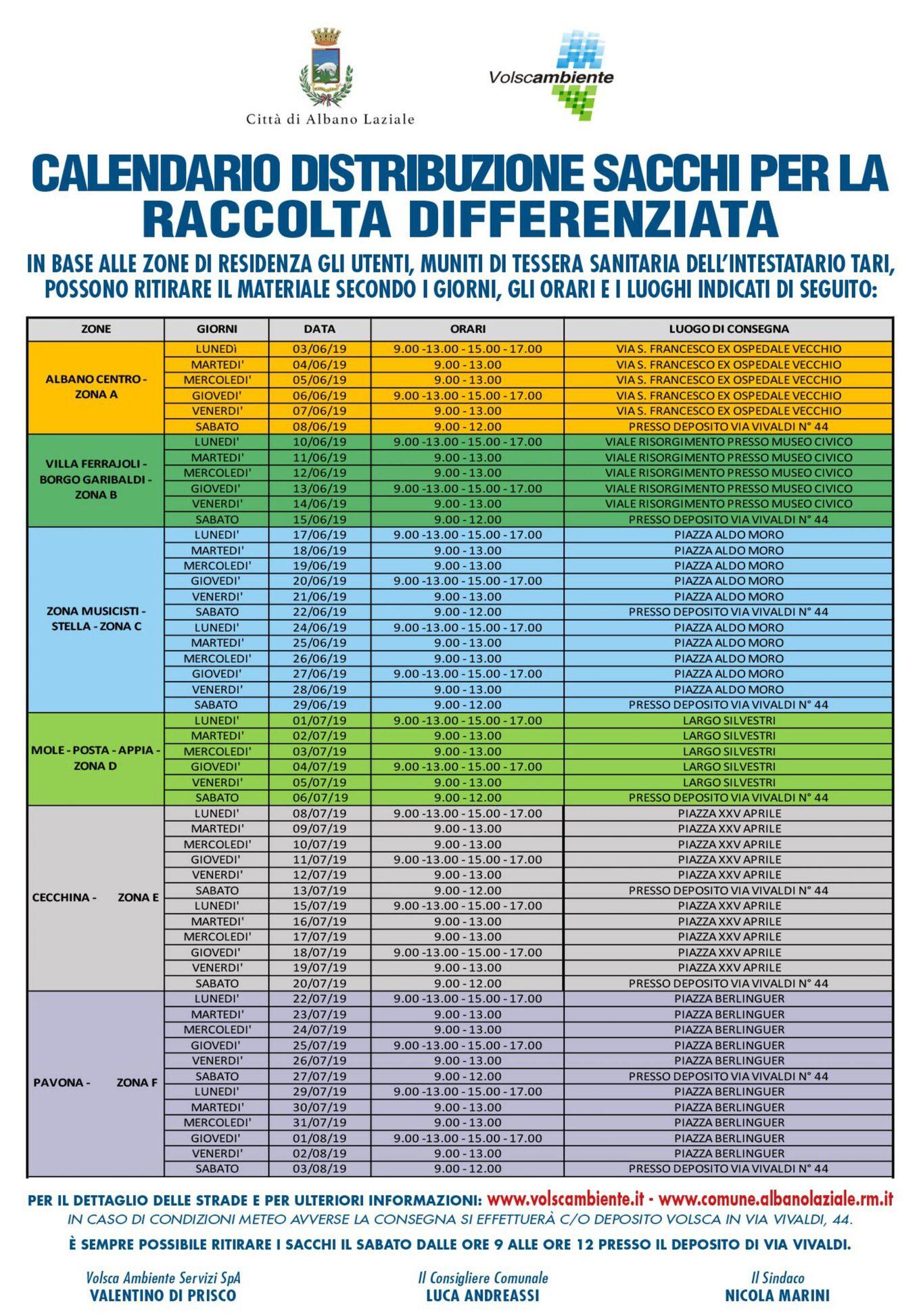 Manifesto Calendario distribuzione sacchetti
