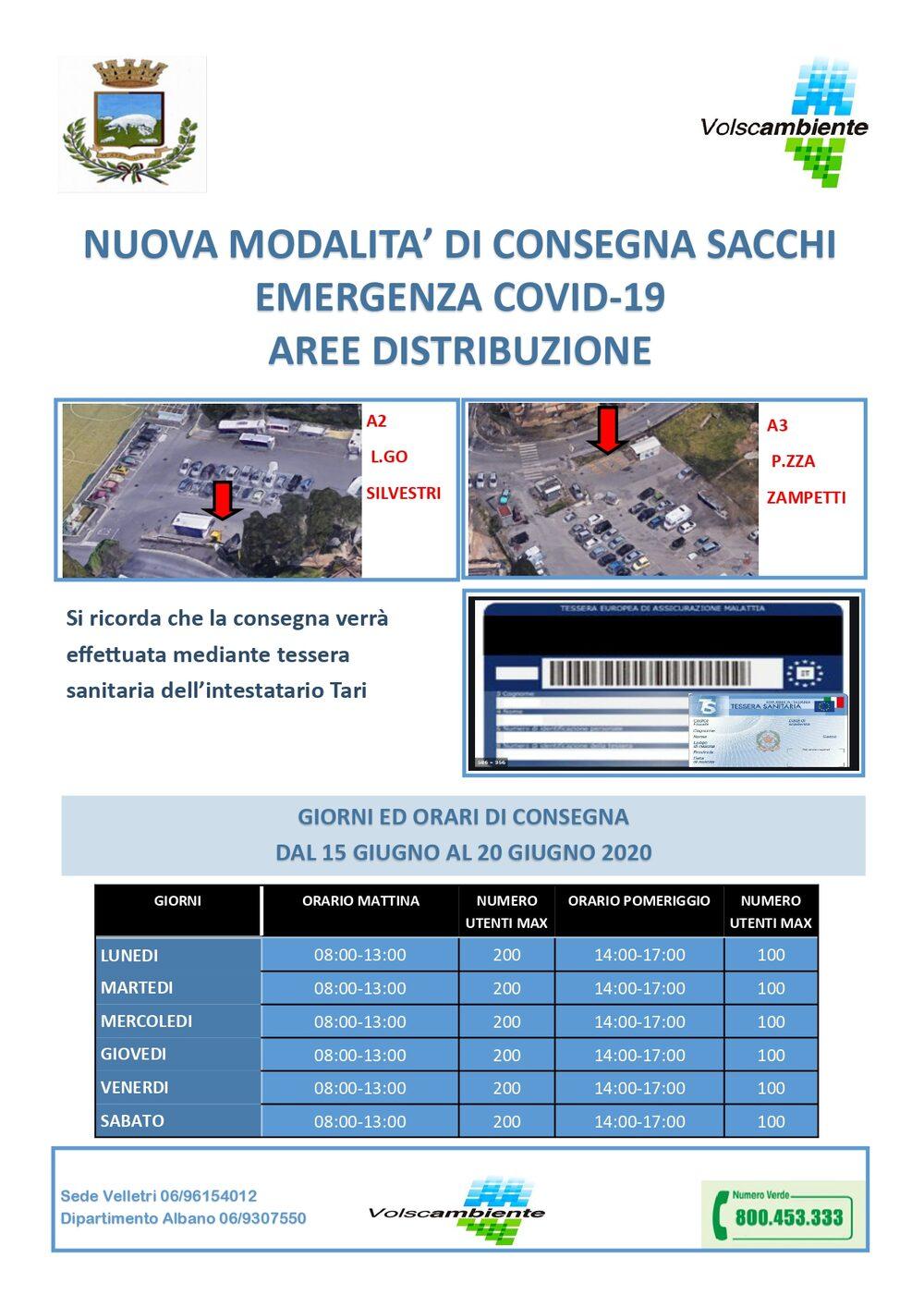 ALBANO PERIFERIA - A 2 - Largo Silvestri - dal 15 al 20 Giugno 2020 = A 3 - Piazza Zampetti - dal 15 al 20 Giugno 2020